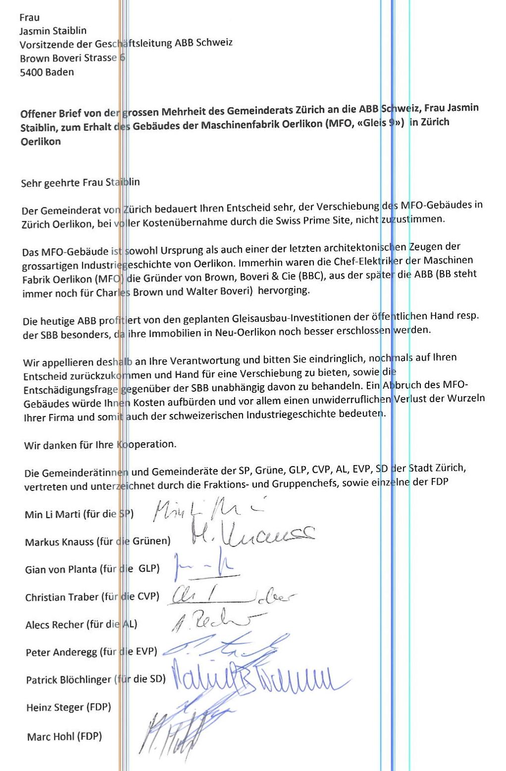 Offener Brief des Gemeinderats ZH an die ABB-Chefin: Aufruf Zustimmung zur verschiebung des MFO-Gebäudes