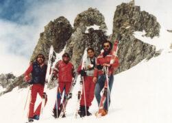 Meine wunderbaren Skikumpels - vor Traus Fluors, ob Celerina. Arm gebrochen? Who cares?
