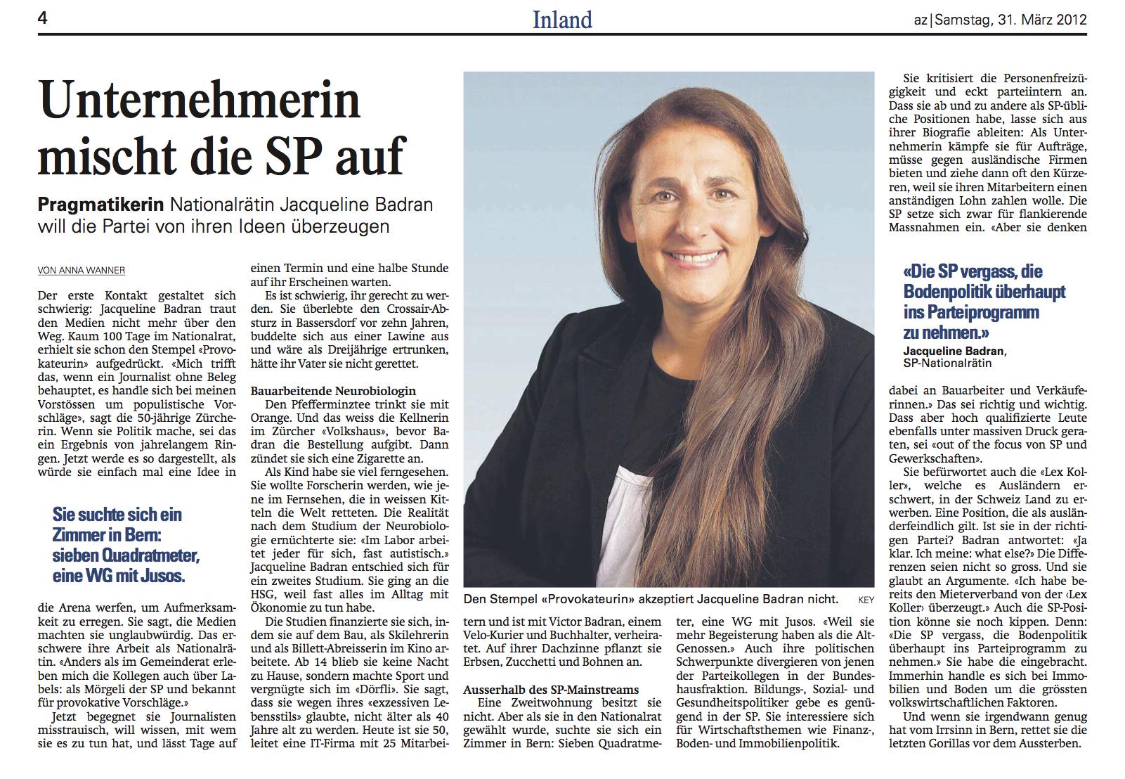 Artikel über Jacqueline Badran in der Aargauer Zeitung vom 31. März 2012