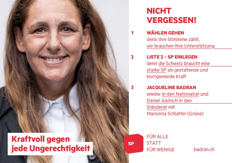 Jacqueline Flyer Abstimmung